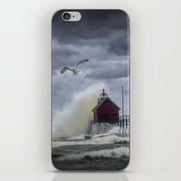 New Years Day Storm at the Grand Haven Lighthouse in Michigan iPhone Skin