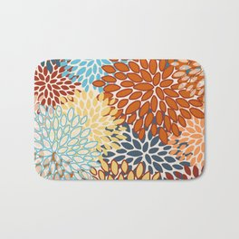 Colorful Bright Floral Pattern Abstract Bath Mat