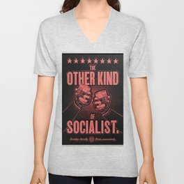 "Vintage ""The Other Kind of Socialist"" Alcoholic Lithograph Advertisement in red Unisex V-Neck"