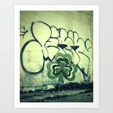 Gritty alley shamrock Art Print