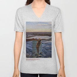 Peace Love & Skipping Stones Vintage Hippie Collage Unisex V-Neck