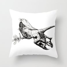 Jurassic Bloom - The Horned. Throw Pillow