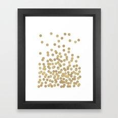 Gold Glitter Dots in scattered pattern Framed Art Print