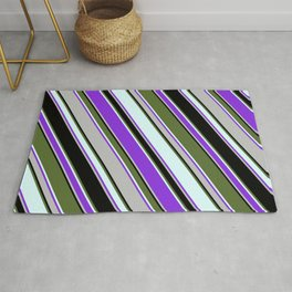 Colorful Dark Olive Green, Light Cyan, Purple, Grey, and Black Colored Lined/Striped Pattern Rug