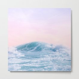 Pink Sunset | Blue Wave | Paradise | Landscape Photography | Pink Sky | Blue Water Metal Print
