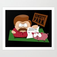 parks and rec Art Prints featuring South Parks and Rec by JVZ Designs