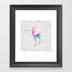 Pink and Turquoise Cute Deer Animal Watercolor Art Framed Art Print