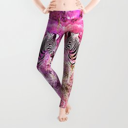 Crazy Zebras Artsy Mixed Media Art Leggings