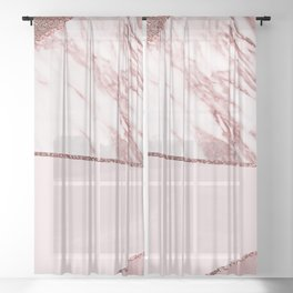 Spliced mixed pinks rose gold marble Sheer Curtain