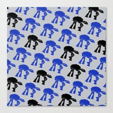 AT-AT's in Blue and Black on Gray, ATAT's Canvas Print