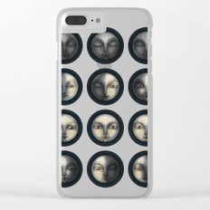 moon phases and textured darkness Clear iPhone Case