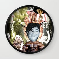 sport Wall Clocks featuring COLLAGE: Sport by Diavu'