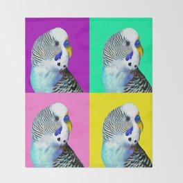 Blue Boy Budgie Bird Throw Blanket