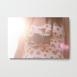 Girl with vintage camera. Metal Print
