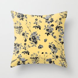 Black and White Floral on Yellow Throw Pillow