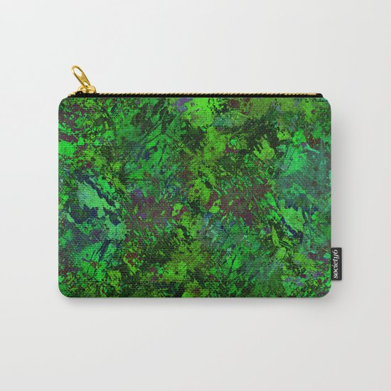 Lost In The Jungle - Abstract, green, jungle, foliage, leaves, forest themed artwork Carry-All Pouch