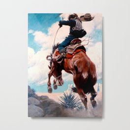 "Vintage Western Painting ""Bucking"" by N C Wyeth Metal Print"