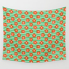 Retro Orange Poppies on Green Stripes Wall Tapestry