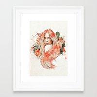 karen hallion Framed Art Prints featuring Karen Gillan by jassinta