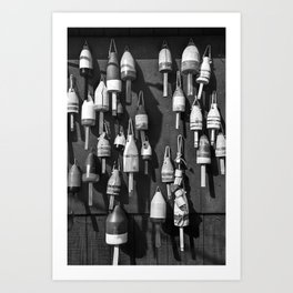 Black And White of Maine Fishing Buoys Art Print