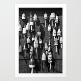 Black And White of Maine Fishing Buoys Art Print