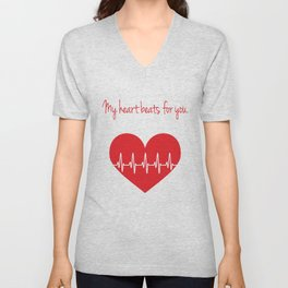 My heart beats for you Unisex V-Neck
