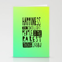 hemingway Stationery Cards featuring Hemingway: Happiness by Leah Flores