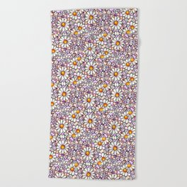 Blush Daisies and Berries Tiled Pattern Beach Towel