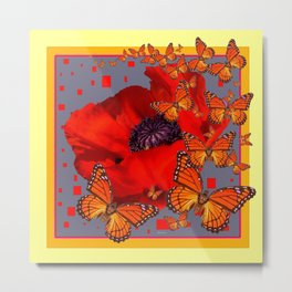 Abstract Red Poppy Monarch Butterflies Yellow-Grey Metal Print