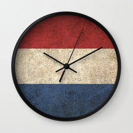 Old and Worn Distressed Vintage Flag of The Netherlands Wall Clock