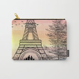 Colorful Eiffle Tower Background Carry-All Pouch