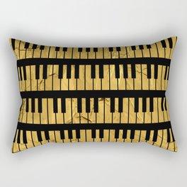 Golden Piano Keys Rectangular Pillow