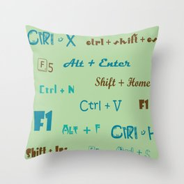 keyboard shortcuts retro blue Throw Pillow