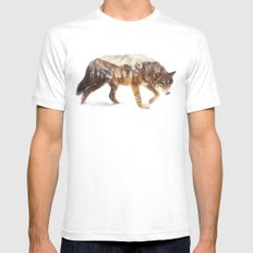 Arctic Wolf White Mens Fitted Tee MEDIUM