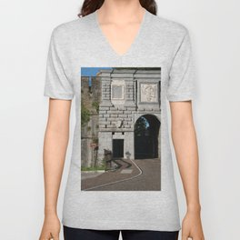 Gorizia, Italy. The castle. It stands between the walls of the ancient village, what medieval sources cite as Upper Land. Friuli Venezia Giulia. Sunny spring afternoon day. Unisex V-Neck