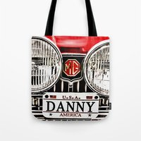 danny ivan Tote Bags featuring MG Danny by Catherine Doolan