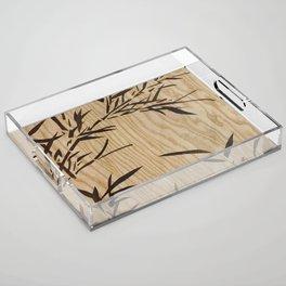 Japanese bamboo buddha wood art Acrylic Tray