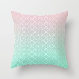 Moroccan pattern with mint, pink and gold Throw Pillow
