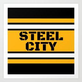 Pittsburgh Steel City Football 412 Pennsylvania Stripes Art Print