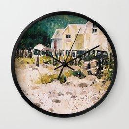 fish shacks Wall Clock