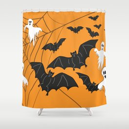Flying Ghosts & Bats Halloween orange Shower Curtain