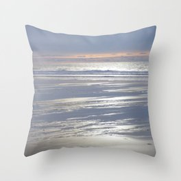 TRANQUIL BEACH WINTER SUNSET CORNWALL Throw Pillow