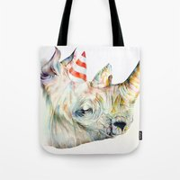 party Tote Bags featuring Rhino's Party by Brandon Keehner