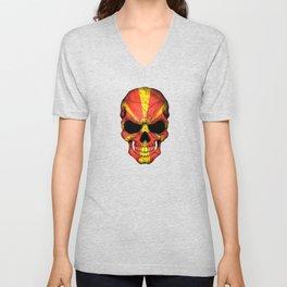 Dark Skull with Flag of Macedonia Unisex V-Neck
