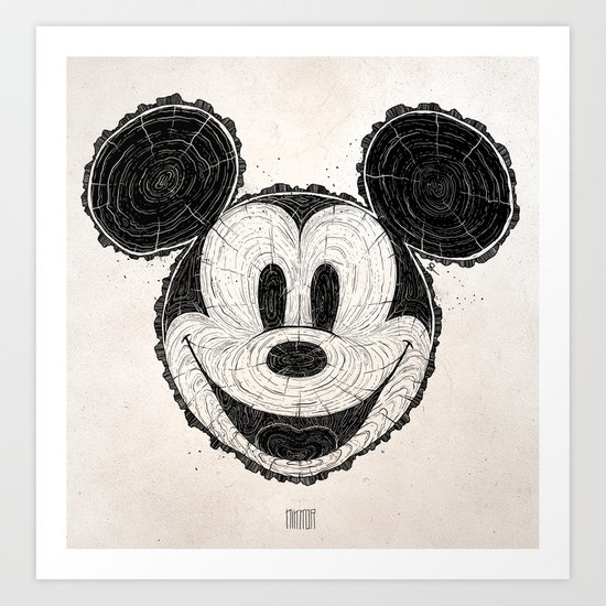 wooden Mickey Mouse Art Print