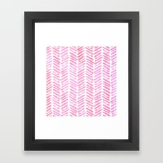 Handpainted Chevron pattern - pink and pink ;) Framed Art Print