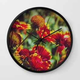 Red and yellow Dahlias - Wonderful Nature Photography Wall Clock