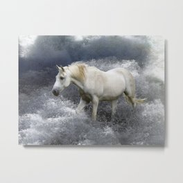 """""""AT ONE WITH THE SEA""""  White Horse In the Surf Metal Print"""