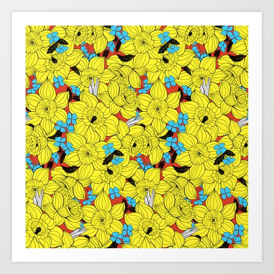 Daffodils spring floral pattern Art Print