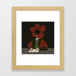 Flemish Man Floral Portait  Framed Art Print